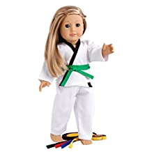 Yin and Yang - Karate / Tae Kwon Do outfit includes blouse, pants and 5 belts - yellow, green, red, blue and black - 18 inch Doll Clothes (doll not included) …