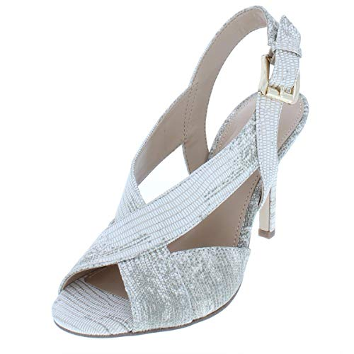 Michael Michael Kors Womens Becky Sandal Leather Open Toe, Pale Gold, Size -
