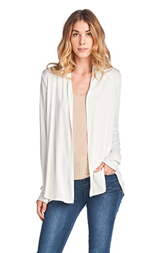 Bamboo Clothing - ReneeC. Women's Extra Soft Natural Bamboo Open Front Cardigan - Made in USA (Medium, Ivory)