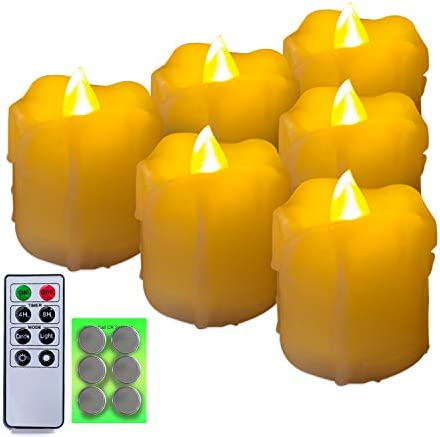 Homemory 400 Hours 6 Pack Flameless LED Votive Candles with Timer, Battery Operated and Remote Control, Flickering Tea Lights 1.5×1.7 inches -Christmas, Thanksgiving