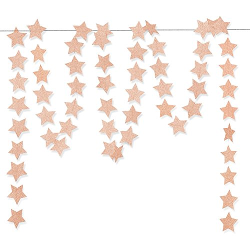 Aonor Glitter Pink Champagne Twinkle Star Hanging Garland - Sparkly Paper Five-pointed Bunting Banner String for Birthday Home Decoration, Wedding Photo Booth Props, 2.8