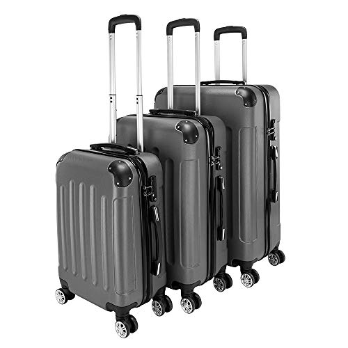 Luggage Sets 3-in-1 Portable ABS Trolley Case 20inch 24inch 28inch (Dark Gray)