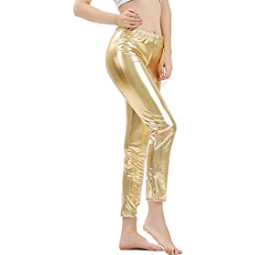 - 41RGRNCrB7L - GAIBEST Women Metallic Color Shiny Lycra Stretch Leggings Leotard