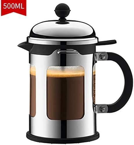 コーヒープレス フレンチプレッシャーコーヒーメーカーグラスコーヒーポット耐熱フィルターティーポット500ミリリットル、10.5 * 19.5センチ