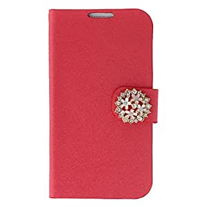Silk Print and Garland Painting Pattern Rhinestone Protective Pouches for Samsung Galaxy S4 I9500 --- COLOR:White