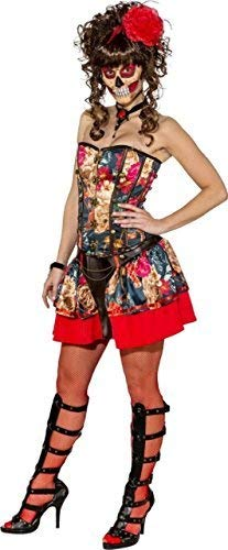 Ladies Sexy Day of The Dead Corset Skirt Halloween Horror Party Fancy Dress Costume Outfit (UK 12 (EU 40)) -