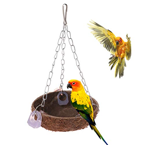 Qupida Parrot Toys Perch Coconut Shell Swing Nest Hanging Ca