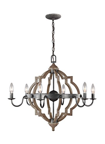 Sea Gull 3124906EN-846 Socorro Chandelier, 6-Light 21 Total Watts, Stardust/Cerused Oak
