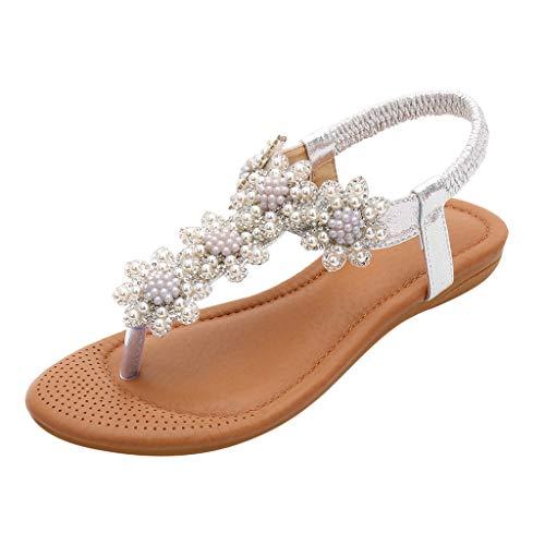(Shusuen Women Bohemian Flats Sandals Summer Beach Ankle Strap Slingback Flip Flop Shoes Silver )
