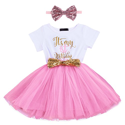 Baby Girls It's My 1st/2nd Birthday Cake Smash Outfits Shinny Printed Sequin Bow Tutu Princess Dress Clothes Set 2pcs Pink(1 Years) from IBTOM CASTLE
