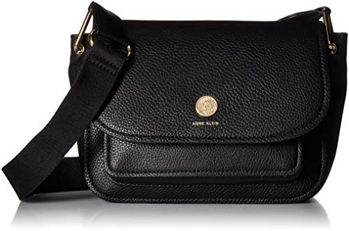 Anne Klein a Hinge Soft Flap Shoulder Bag, black