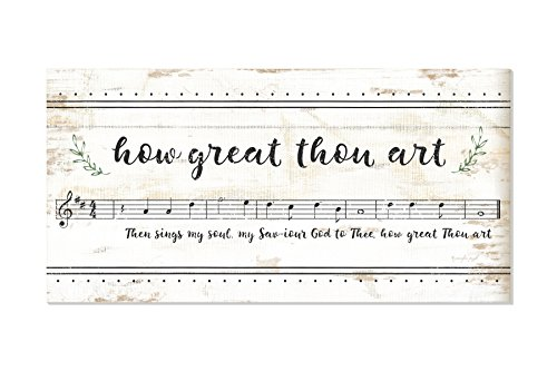 Cheap How Great Thou Art Music Notes Wood Wall Sign 9×18