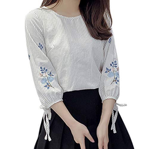 - Ximandi Women's Floral Embroideried 3/4 Sleeve O-Neck Striped Print T Shirt Blouse Casual Korean Style Tops Beige