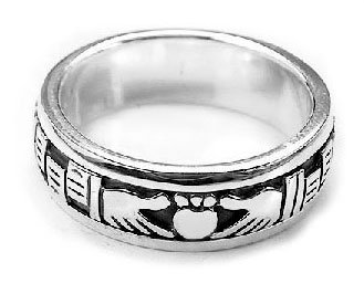 IRISH CLADDAGH RING Black Stone CELTIC,925.Sterling Silver 4,5,6,7,10,11,12
