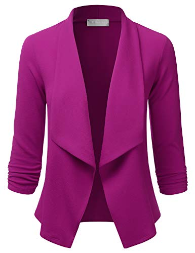EIMIN Women's Lightweight Stretch 3/4 Sleeve Blazer Open Front Jacket Magenta 1XL
