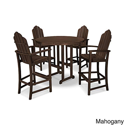 POLYWOOD Kahala 5 Piece Adirondack Chair Bar Dining Set White, Mahogany ()