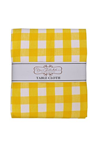 Yourtablecloth 100% Cotton Checkered Buffalo Plaid Tablecloth –for Home, Restaurants, Cafés – Be it for Everyday Dinner Picnic or Occasions like Thanksgiving 60 x 120 Rectangle/Oblong Yellow and White by Yourtablecloth (Image #3)