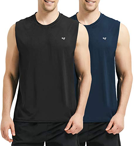 Roadbox Men's 2 Pack Performance Sleeveless Workout Muscle Bodybuilding Shirt Athletic Running Quick-Dry T-Shirt(Medium, Black&Blue)