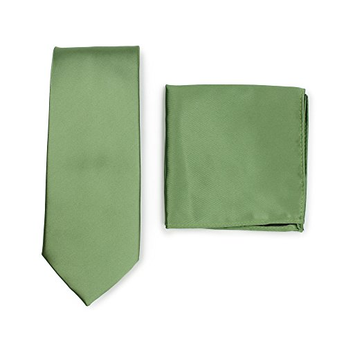 Bows-N-Ties Men's Solid Necktie and Pocket Square Set (Sage Green)
