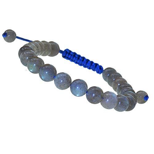 LPBeads Natural Reiki Healing Energy Gemstone Therapy Beads Macrame Adjustable Braided Link 8mm Unisex Bracelet (Labradorite)