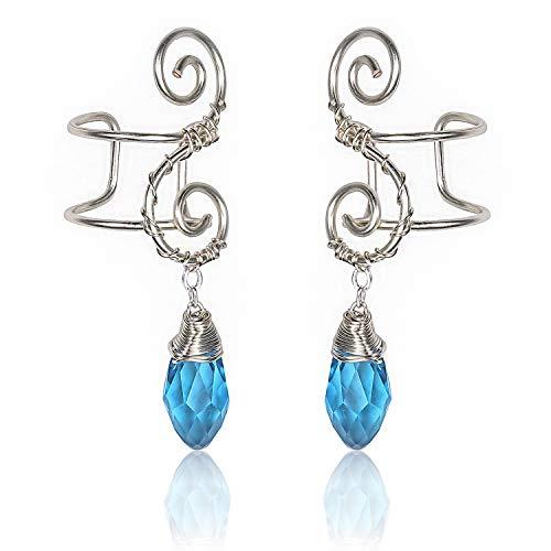 Elf Ear Cuff Earrings, OwMell Non Pierced Ear Cuffs Wrap Clip on Filigree Crystal Drop Earrings Hypoallergenic Handcraft ()