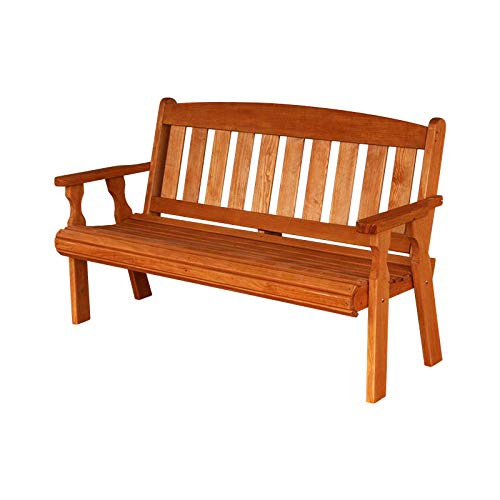 Amish Heavy Duty 800 Lb Mission Pressure Treated Garden Bench (5 Foot, Cedar Stain)