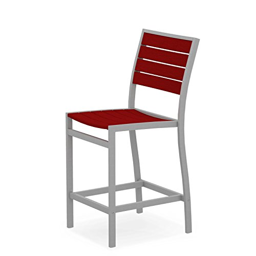 POLYWOOD A101FASSR Euro Counter Side Chair, Textured Silver/Sunset Red