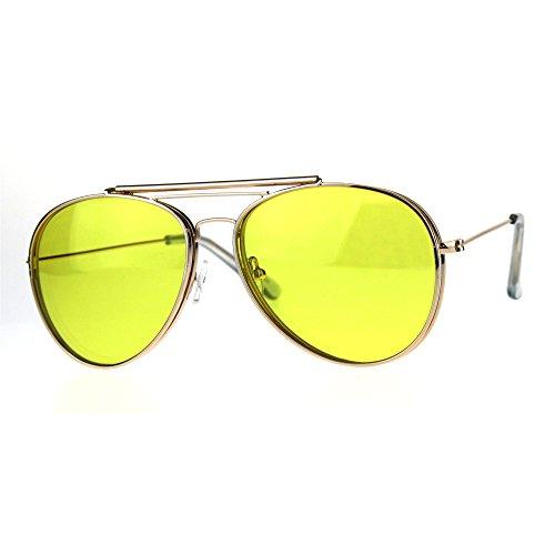Mens Color Flip Up Lens Metal Rim Pilots Sunglasses Gold - Flip Up Aviators