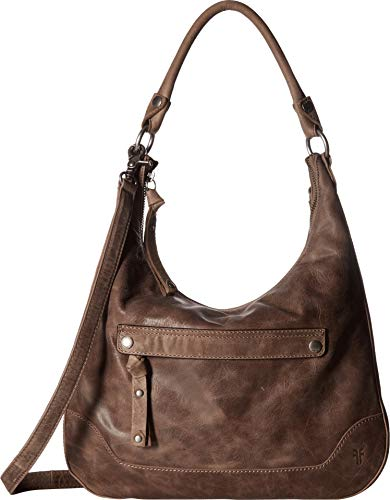 FRYE Melissa Zip Leather Hobo Handbag, Grey
