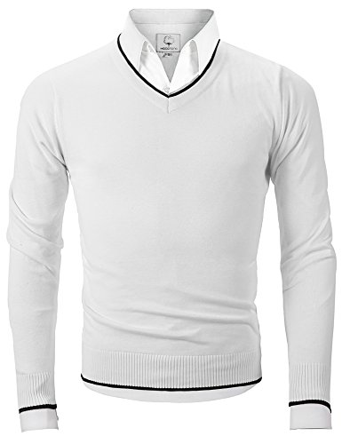 Men's V Neck Pullover Sweater Long Sleeve Cotton Casual Sweat Dress ,White,Large