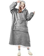 OUBARDE Filt huvtröja, överdimensionerad sherpa filt sweatshirt med huva ficka och ärmar, supermjuk varm bekväm plysch huva filt för vuxna kvinnor män, en storlek passar alla (grå)