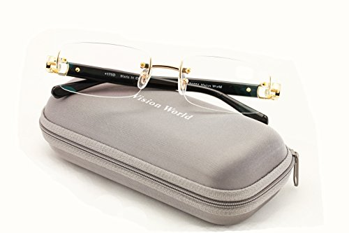 Men Rectangular Rimless Designer Fashion Reading Glasses /w Anti-reflective AR Coating (Gold, - Designer Rimless Eyewear