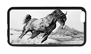 The animal series,horse wallpaper for black Plastic and iPhone 6 plus case 5.5 inches (Laser Technology)
