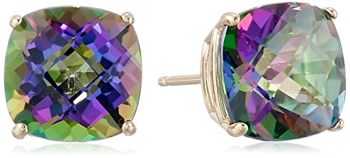 14k Yellow Gold Cushion-Cut Checkerboard Mystic Fire Topaz Stud Earrings ()