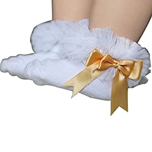 Gemini_mall Baby Girls Cotton Socks Princess Lace Ruffle Frilly Ankle Socks 0-6Years