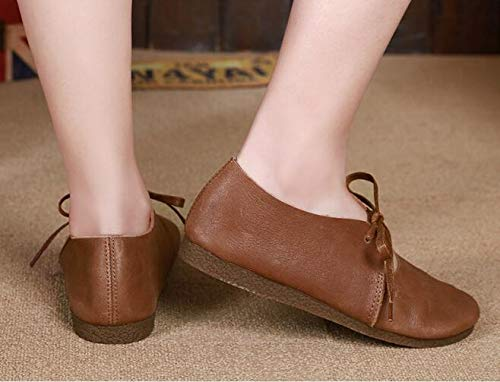 SHUQI Womens Casual Japanese Comfortable Big Leather Strap Flat Shoes