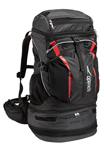 Speedo Tri-Clops Backpack, Black|Grey|Red, 50-Liter