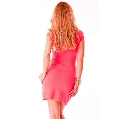 Miss Wear Damen Kleid Line, neon-rosa, Kurzarm, mit
