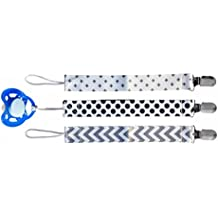 3 Pacifier Clips, Teething Soother Holder, Modern Design for Girls and Boys, Sweet Baby A: London (Unisex), Pacifier Leash, Pacifier Holder, Pacifier Clip