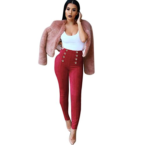 - Women High Waist Solid Cotton Slim Skinny Trouser Stretchy Jeggings Pencil Pants