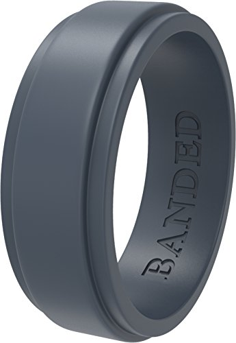Banded Glory Silicone Wedding Ring | Wedding Bands for Men & Women - Skin Safe, Soft, Rubber Rings 5.5mm & 8.7mm Wide, Mens, Gray, Step Edge, Size 9 -
