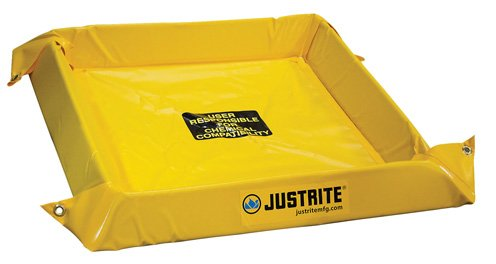 Justrite Manufacturing Company LLC 28406 - Maintenance Spill Berm - PVC coated fabric, Yellow, 60 in Wide, 60 in Long