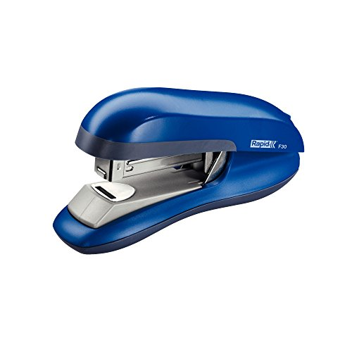 Flat Clinch Half Strip - Rapid F30 Flat Clinch Stapler Half Strip ABS 26/6 Throat 55mm Blue Ref 23256501