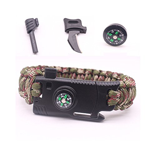 Best Quality Ayat Military Outdoor Paracord Survival Bracelet 550 LB - Hiking Travelling Camping Gear Kit - Parachute Rope Bracelet - With Compass, Flint Stone, Fire Sticks, Knife, and Whistle