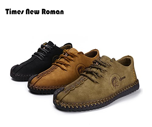 Times New Roman Casual Shoes,Men's British Style Handmade Classic Leather Oxford Flats Shoes, Casual Shoes, Lace-up Loafers, Flats Sneakers