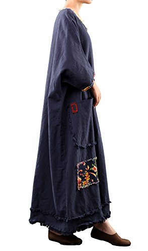 Mordenmiss Women's Cotton Linen Dress Oversize Clothing Dark Blue