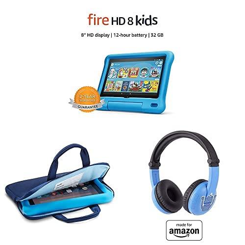 "Fire HD 8 Kids Tablet, 8"" HD Display (32 GB, Blue) + Zipper Sleeve (Blue) + Blue PlayTime Bluetooth Headset"