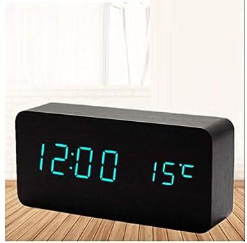 WDDqzf Reloj LED Reloj Despertador Digital de Madera Luz Nocturna Pantalla LED Temperatura Escritorio Electrónico Despertador: Amazon.es: Hogar