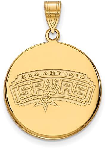 10K Yellow Gold NBA San Antonio Spurs Large Disc Pendant by LogoArt