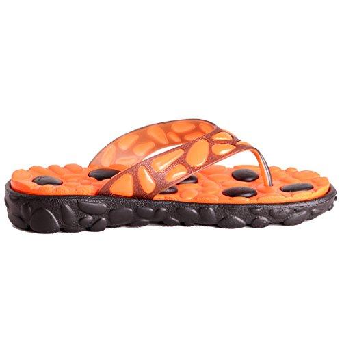 Yueqier Mens Flip Flop Bathroom Slide Beach Sandal Slip On Slippers Orange feY8nU886